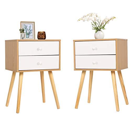 Happy Home Moderner Nachttisch mit 2 Schubladen Nachttisch-Lagereinheit - 40x30x60cm, 2er Set