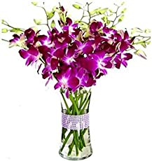 FloraZone Smiling Orchids Arranged in A Glass Vase