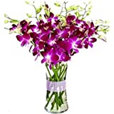 Florazone Smiling Purple Orchids Arranged in A Glass Vase