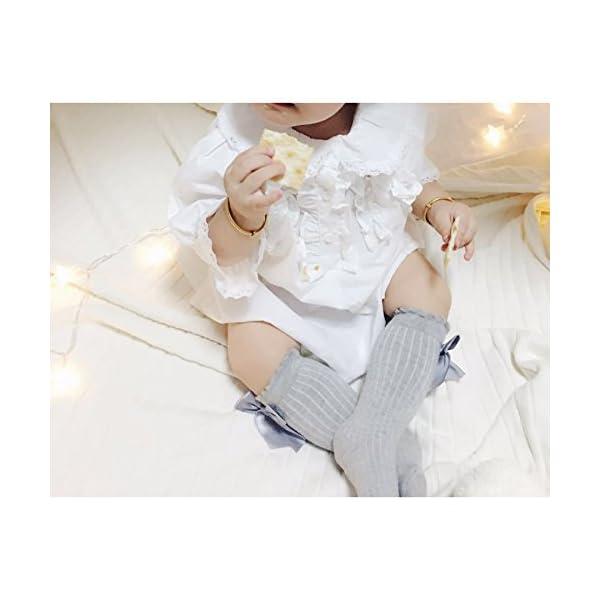 Z-Chen Pack de 5 Pares Calcetines altos de bebé niña con lazo, 0-4 Años 5