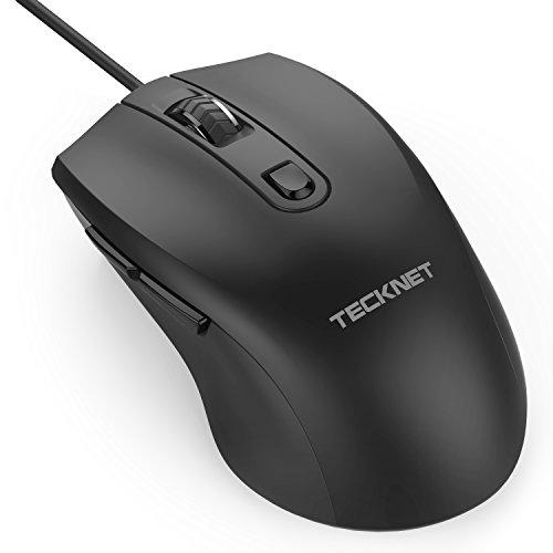 TeckNet M010 - Ratón óptico Alpha S3 con cable USB, 2 Niveles de DPI Adjustables (1000/1600), 6 Botones, Negro