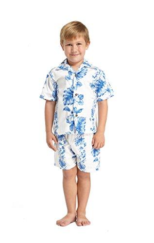 Made in Hawaii Luau Aloha Shirt und Kurz Junge Cabana Set Blau Linie Hibiskus in Weiß 8 (Cabana Kurz)