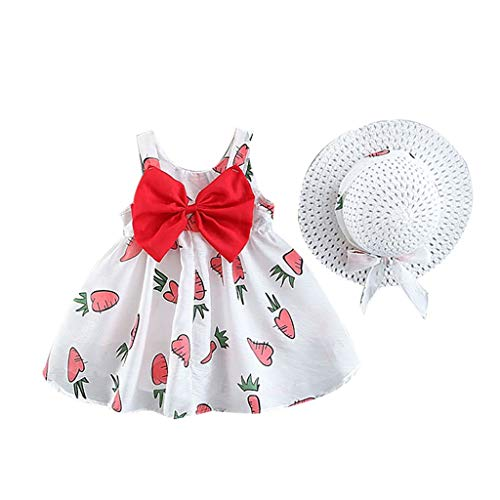 Dresses for Girls Dress+ Hut Pwtchenty Prinzessin Kleid Baby Mädchen Obst Karotten Print Bow Kleider Sommer Baumwolle Freizeit Kinderkleidung