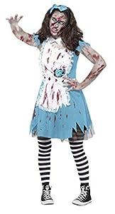 Smiffys Disfraz de Zombi de la Hora del té, Azul, con Vestido, Taza de té de látex y Dia