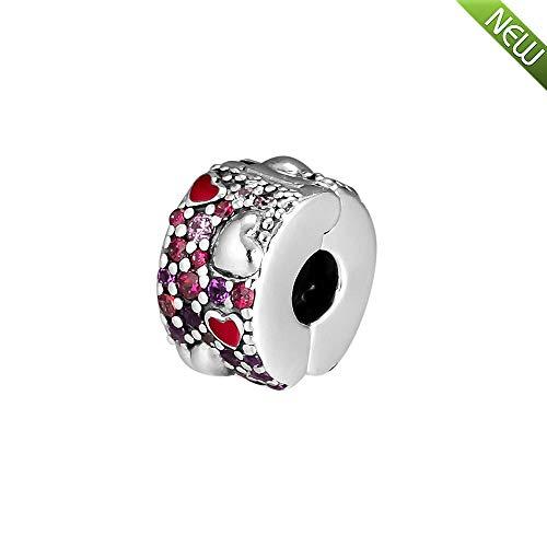 Pandocci 2019 san valentino regalo asimmetrico cuori d'amore rosso e rosa royal viola clip argento 925 fai da te adatto per originale pandora bracciali fascino gioielli di moda