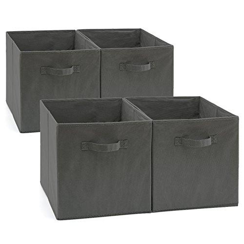 Bin Regalsystem (EZOWare Aufbewahrungsbox, 4er-Set Faltbare Aufbewahrungskiste ohne Deckel (33 x 38 x 33 cm) (Grau))