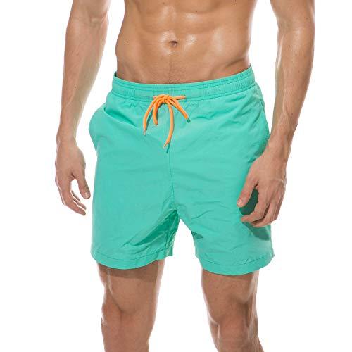anqier Badeshorts für Männer Badehose für Herren Jungen Schnelltrocknend Schwimmhose Strand Shorts (See Grün, M(EU)-MarkeGröße:XL-Taille 80-90cm)