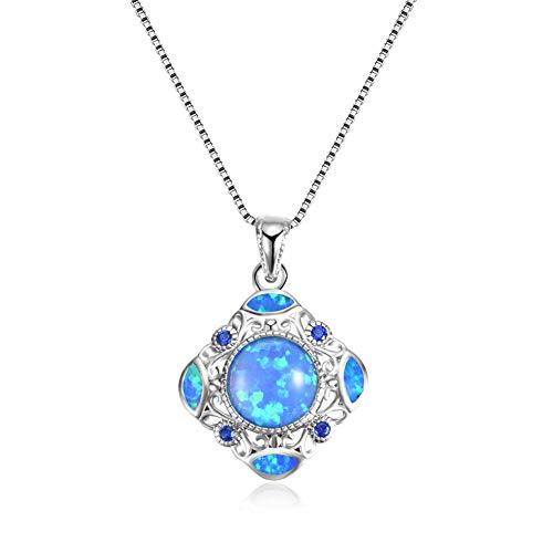Yazilind quadratische Form Opal Anhänger Halskette Exquisite Schlüsselbein Kleid Halsketten Platin Überzogene Kette Schmuck für Frauen Hochzeit Geburtstag (blau)