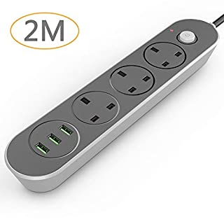 Joyguard Extension Lead with USB 3 USB Ports 3 Way Outlets Power Extension with USB Surge Protection Power Strip with USB Slots (2 Meter+3 USB 3.1A)