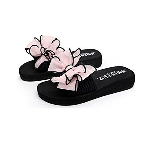 GRRONG Sandales Femme Chaussons Fleurs Papillon Chaussures De Plage Femmes Traînent Fond épais pink