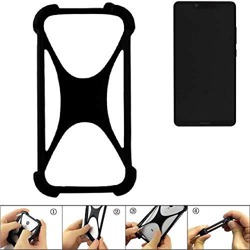 K-S-Trade Handyhülle für Sharp Aquos D10 Schutz Hülle Silikon Bumper Cover Case Silikoncase TPU Softcase Schutzhülle Smartphone Stoßschutz, schwarz (1x)