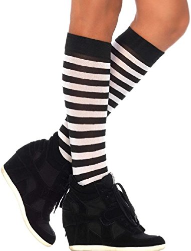 Leg Avenue Damen Kniestrümpfe Schwarz Weiß gestreift Blickdicht Einheitsgröße 36 bis (Schwarz Und Weiß Gestreiften Socken Kostüm)