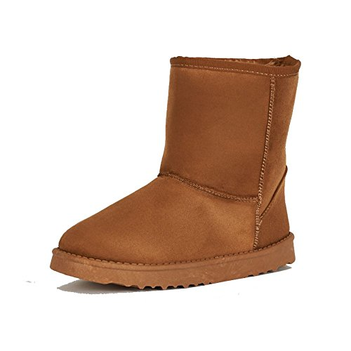 ladies flat brown ankle boots with warm lining Tan