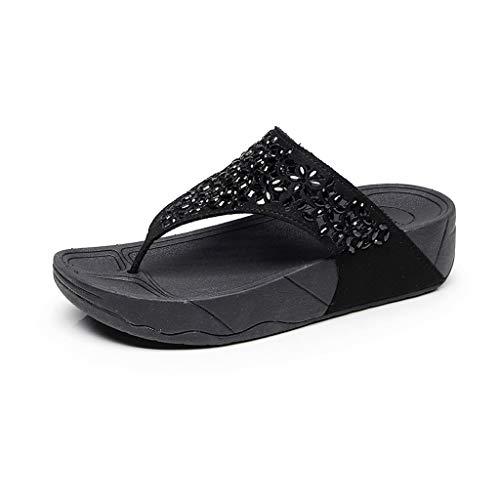 YEARNLY Damen Flip-Flops dicke untere Sandalen Flats Beach rutschfeste Schuhe Slipper Schwarz Braun 35-40
