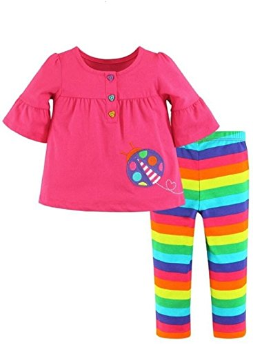 Bouimi Mädchen Set kurz Tunika Shirt Leggins pink bunt gestreift F9 (110)