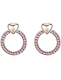 Gold Crystal Diamond Accent Heart Shape Earrings Made with Swarovski Crystal, with a Gift Box, Rose Red, Model: X13893