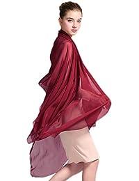 Prettystern - Foulard Sarong Pareo soie XXL 100% soie étole mariage de plage écharpe de couleur unie Sarong Pareo Ville & Soirée - 20 couleurs