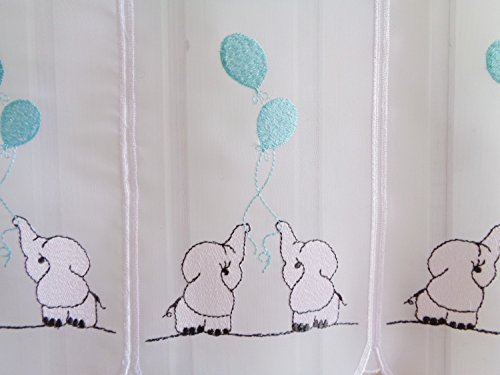 Scheibengardine Kinderzimmer Weiß Türkis Elefanten Stick 45 cm Höhe/ Br. ab 1 Meter