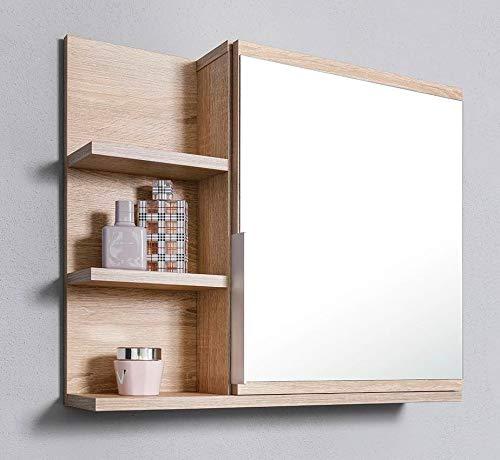 DOMTECH Badezimmer Spiegelschrank mit Ablagen und LED Beleuchtung, Badezimmerspiegel, Eiche Sonoma Spiegelschrank, L
