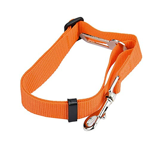 JKRTR Fahrzeug Auto Sicherheitsgurt Sicherheitsgurt Blei Clip Haustier Katze Hundesicherheit(Orange,Kasten 42-68CM.)