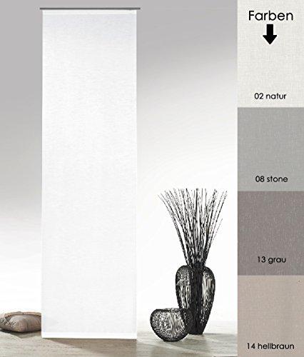 fashion and joy Flächenvorhang Natur Batist Optik inkl. Zubehör HxB 245x60 cm in Natur weiß - Schiebegardine einfarbig matt Natural Chic Gardine Typ410