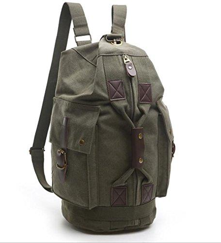 &ZHOU Borsa di tela, Più tasche tela borsa a tracolla uomo e donna alpinismo borsa zaino tempo libero viaggio borsa zainetto , army green army green