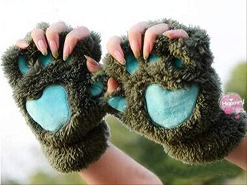 Mechaniker Weibliche Kostüm - taintianxs Schöne Frauen Cat Claw Paw Mitten Plüsch Handschuh Kostüm Nette Winter Warme Half Finger Handschuhe Frauen Weibliche Handschuhe Mitten Army Green