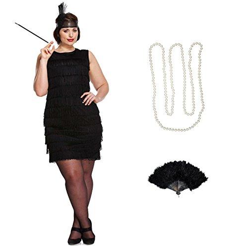 Baker Kostüm Josephine - Spassprofi Charleston Kostüm Francis Größe 42/44 mit Federfächer Perlenkette und Zigarettenhalter
