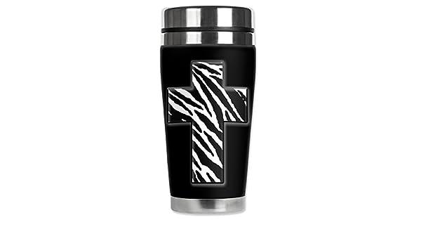 Mugzie 991-MAXZebra Cross Stainless Steel Travel Mug with Insulated Wetsuit Cover Black 20 oz