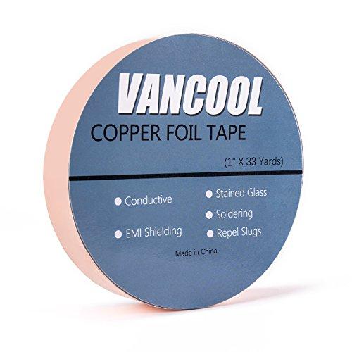 Vancool (25mm×30m) Cinta de cobre adhesiva Conductivo Para Guitarra, Slug Repellent,vidrieras, EMI Blindaje