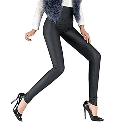 LvRao Damen Dick Leder-Optik Look Leggings Hoher Bund Lederimitat Hosen Dünne Glanzleggings # WG Schwarz L