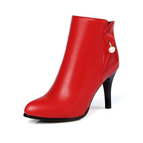 AgooLar Damen Wedges Rein Rund Zehe Weiches Material Reißverschluss Stiefel, Rot, 37