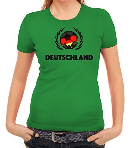 ShirtStreet Germany Wappen Soccer Fussball WM Fanfest Gruppen Fan Wappen  Damen T-Shirt Fußball Deutschland