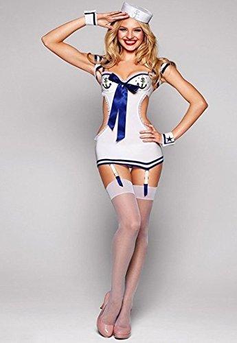 DLucc Weiß Matrosenanzug marineblauen Anzug Kleid sexy rückenfreies Europa und Kostüme bar DS Kleidung sexy Dessous