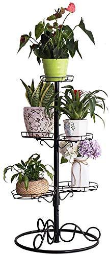 MWPO Schwarze schmiedeeiserne Blume Drehbarer Ständer Wohnzimmerständer Regalständer Halter für mehrschichtige Regale Rettichgrüner Balkon Saftiger Blumenständer - fasst bis zu 5 Gläser
