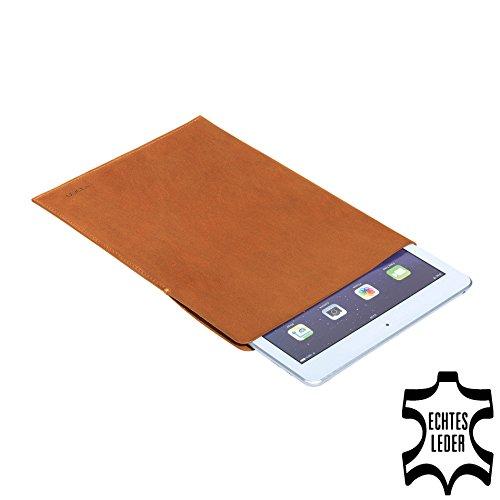 PEDEA Echtleder Tasche/Hülle für Apple iPad Air, Acepad A96, Denver TAQ-80062, Xoro TelePAD 96A3, cognac