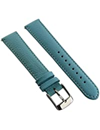 amazon co uk ladies watch straps accessories watches 16mm genuine buffalo grain leather watch strap band mens ladies padded ss buckle sky blue white