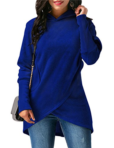 Yiwa Top à Manches Longues - Femme Bleu