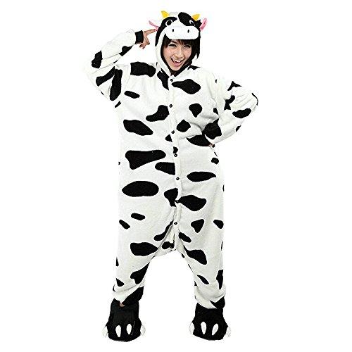 Unicsex Süß Tier Overall Pyjama Jumpsuit Kostüme Schlafanzug Für Kinder / Erwachsene (M, (Kostüme Kind Kuh)