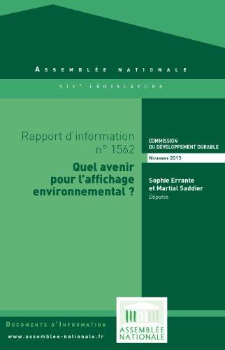 Livre Rapport d'information sur l'affichage environnemental pdf epub