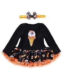 Conjuntos para Bebés Niñas Otoño Invierno PAOLIAN Vestidos + Diademas Estampado de Calabaza y Calaveras Halloween Fiestas…
