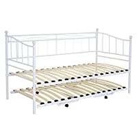 PANANASTORE Metal Single Day Bed- Pullout Trundle Included, 2FT6 or 3FT Guest Bed 2in1 Underbed Bed Frame with Wood Slatted Base