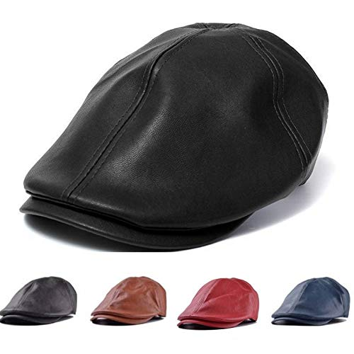 HKHJN Gorra de Caballero de Cuero Artificial Unisex con Botones de Boina Cabbie Golf Hat Gentleman para Hombres, Mujeres (Color : Color Brown, Size : One Size)