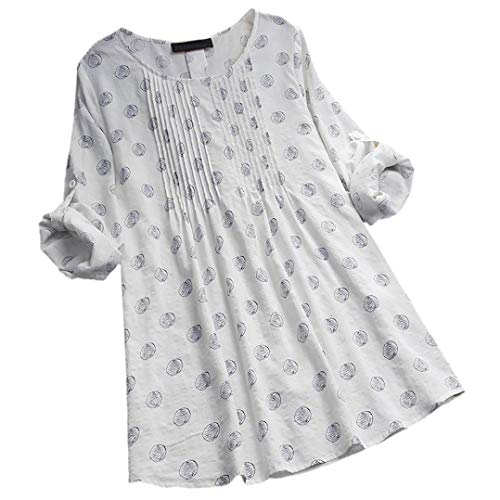 MEIbax Damen Langarm Polka Dot Lose Bluse Pullover Button Tops Shirt Oberteile Langarmshirt Hemd