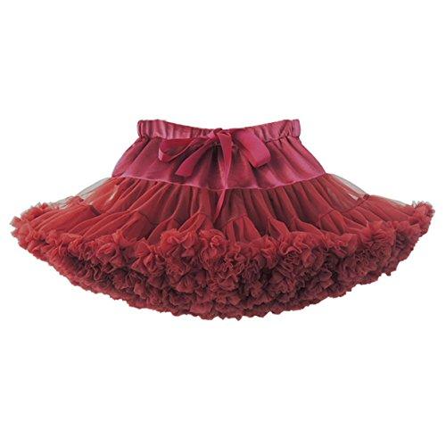 sch Puffy Tüll Tütü Röcke Petticoat Ballett Blase Ballkleid Bowknot Mehrfarbengroß Tanzrock Burgund ()