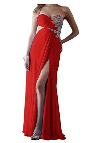 Toscane mariée chic une épaule fente longue de soirée en chiffon abendkleider promkleider forme de boule Rouge - Rouge