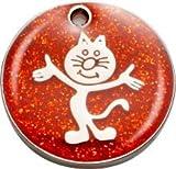 Pet-Tags Bow Wow Meow mit Personalisierung Rote Katzenmarke Glitzernde stehende Katze (Klein) | GRAVURSERVICE | Personalisierte, Reflektierende, Glitzernde Haustiermarken