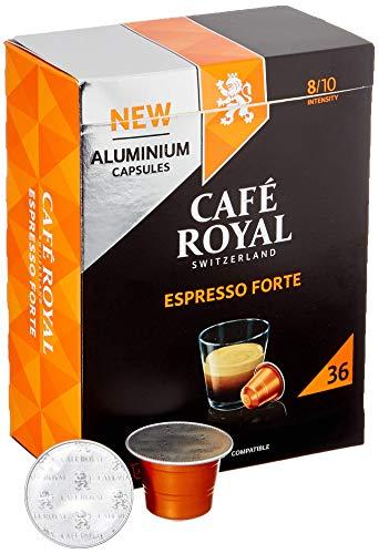 Café Royal 36 Espresso Forte Nespresso (R)* kompatible Kapseln aus Aluminium - Intensität 8/10 - Großpackung 36 Kaffeekapseln - UTZ-zertifiziert - Kompatibel mit Nespresso (R)* Kaffeemaschinen