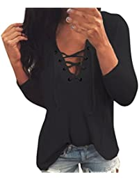 Hevoiok Langarmshirt Damen Herbst Sommer Fashion Klassisch Casual Tunnelzug  V-Ausschnitt Top Shirt Blusentop Fraun Lange Ärmel Lose… d9523b87de