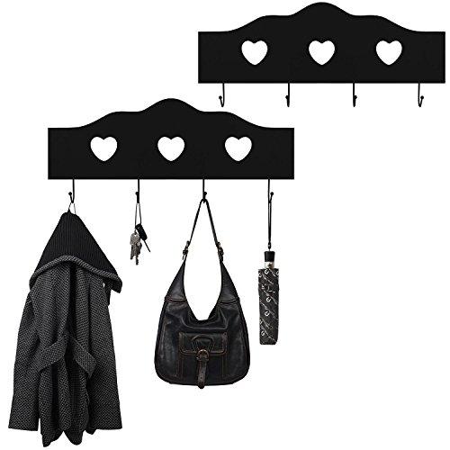 2 Stück Wandgarderoben Herz Garderobenpaneel Flurgarderobe aus Holz, 60,5x5x25cm, Schwarz, 4 Haken, für Hausflur, Diele, Küche